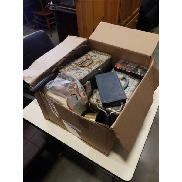 BOX OF TACKLEBOXES, SOME WITH CONTENTS AND FISHING SUPPLIES