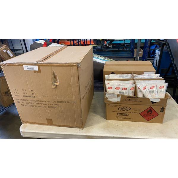 4 BOXES OF NEW LIFEBOUY HAND SANITIZER AND LARGE BOX OF ASANA FEMININE SANITARY NAPKINS