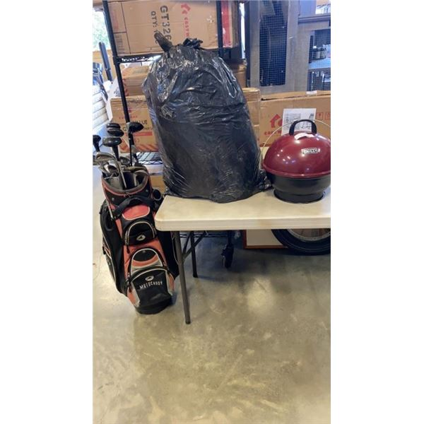 GOLF CLUBS IN BAG, TENT AND BACKYARD GRILL CHARCOAL GRILL