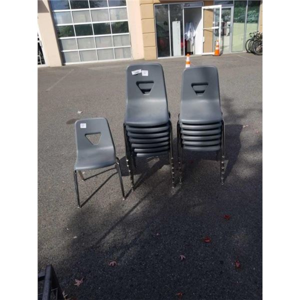 14 VIRCO GREY STACKING CHAIRS