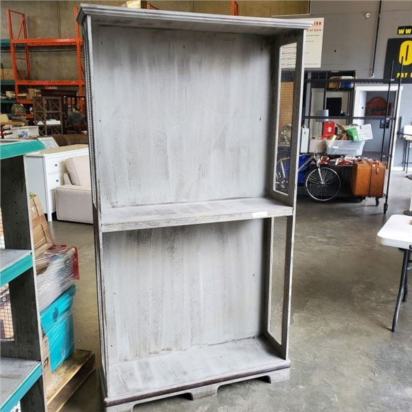 6.5 FT TALL 2 TIER SHELF WITH MESH