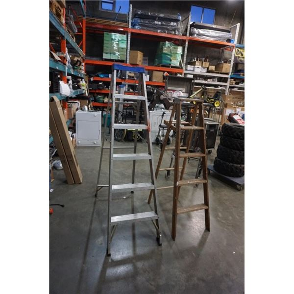 6FT ALUMINUM AND 5FT WOODEN A FRAME LADDERS