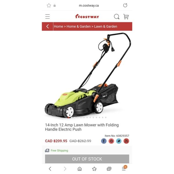 14-Inch 12 Amp Lawn Mower with Folding Handle Electric Push
