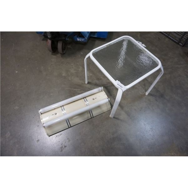 INDUSTRIAL STYLE FLOURESCENT LIGHT FIXTURE AND GLASS SIDE TABLE