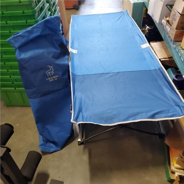 2 HIDDEN WILD FOLDING COTS WITH CARRY BAGS