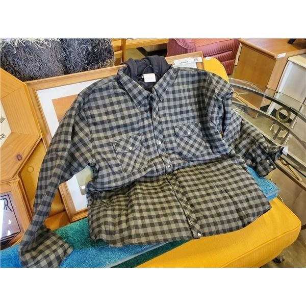 New Condor 2XL Grey flannel Button-up shirt with hood