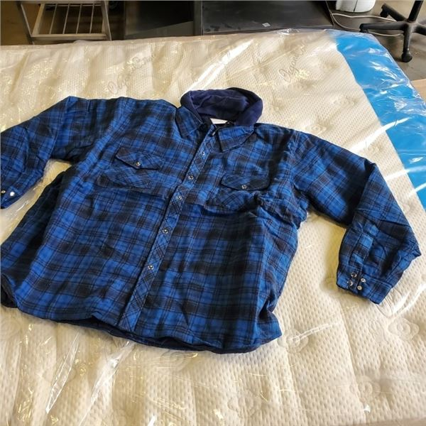 New Condor 2XL Blue flannel Button-up shirt with  hood
