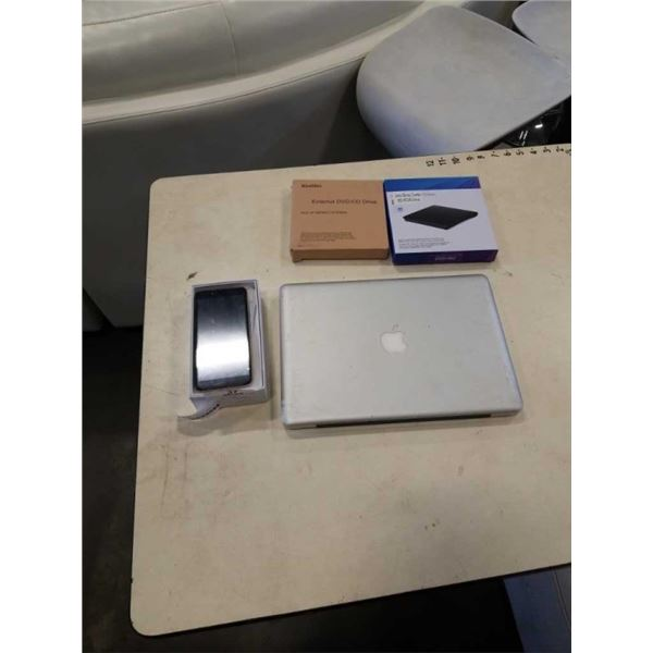 NEW ANDROID P43 PRO SMART PHONE, PARTS MACBOOK AND 2 EXTERNAL CD DRIVES
