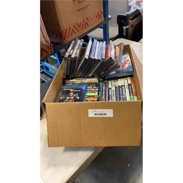 BOX OF DVDS AND VIDEOGAMES