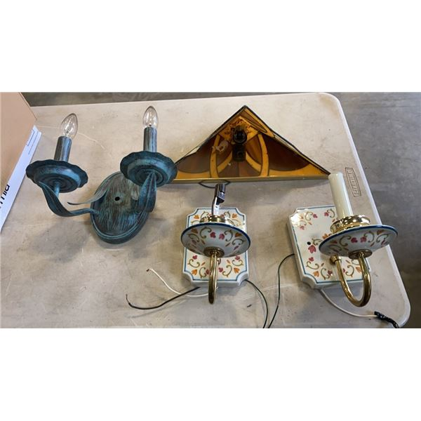 2 PORCELAIN WALL SCONCES, LEADED GLASS WALL SCONCE AND MORE
