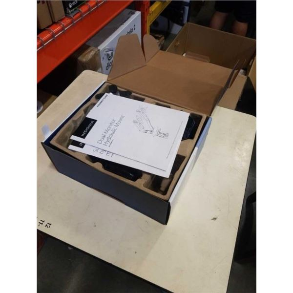 NEW OVERSTOCK INSIGNIA DUAL MONITOR HYDRAULIC MOUNT - UP TO 27 INCH