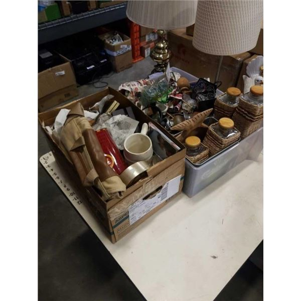 BOX AND BIN OF COLLECTOR PLATES, RATTAN CONTAINERS AND OTHER COLLECTIBLES