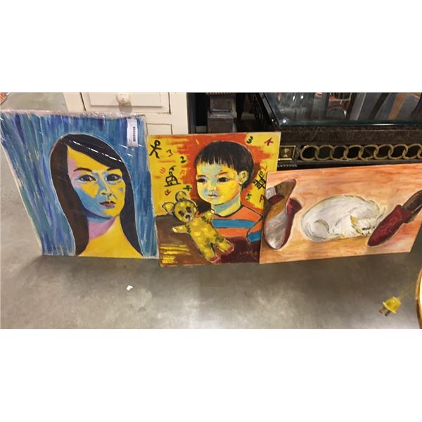3 ORIGINAL PAINTINGS ON BOARD - LING LIU 1981 CAT, MARR LING 1969PORTRAIT OF CHILD AND LING 1969 POR