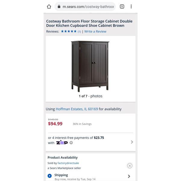 Costway Bathroom Floor Storage Cabinet Double Door Kitchen Cupboard Shoe Cabinet Brown
