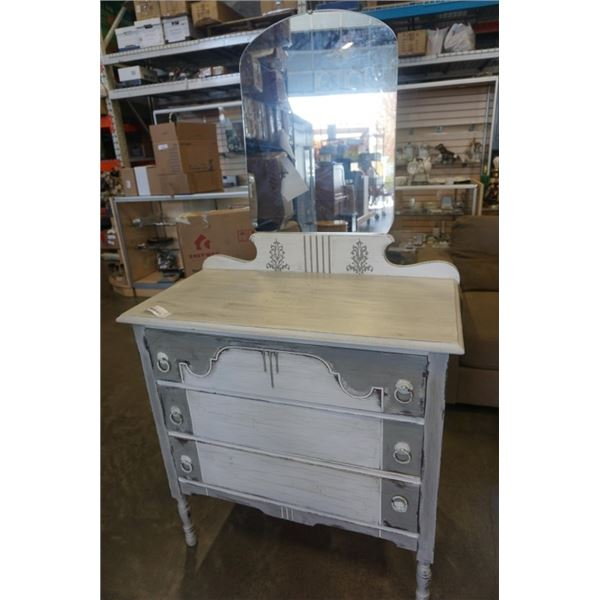 GREY PAINTED 3 DRAWER DRESSER WITH MIRROR