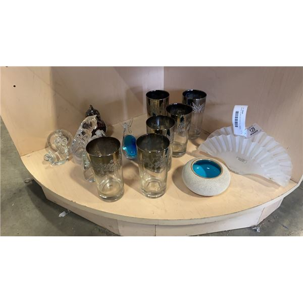 MURANO GLASS DECORATION, OMBRE GLASS HIGHBALL TUMBLERS AND ITALIAN VASE
