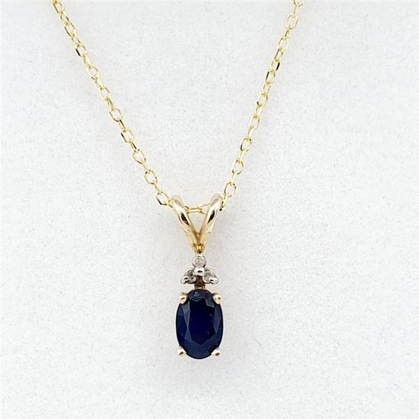 NEW 10KT YELLOW GOLD GENUINE BLUE SAPPHIRE AND DIAMOND PENDANT W/ YELLOW GOLD PLATED STERLING CHAIN