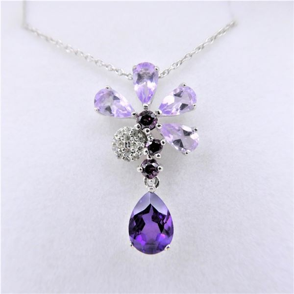 NEW STERLING SILVER GENUINE AMETHYST AND DIAMOND FORAL PENDANT W/ STERLING CHAIN W/ APPRAISAL $1040