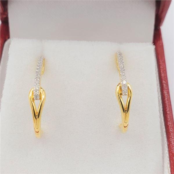 NEW STERLING SILVER GOLD TONE DIAMOND EARRINGS W/ APPRAISAL $915