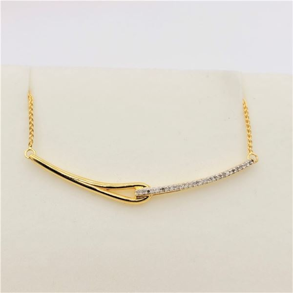 NEW STERLING SILVER GOLD TONE DIAMON BAR NECKLACE W/ APPRAISAL $1125