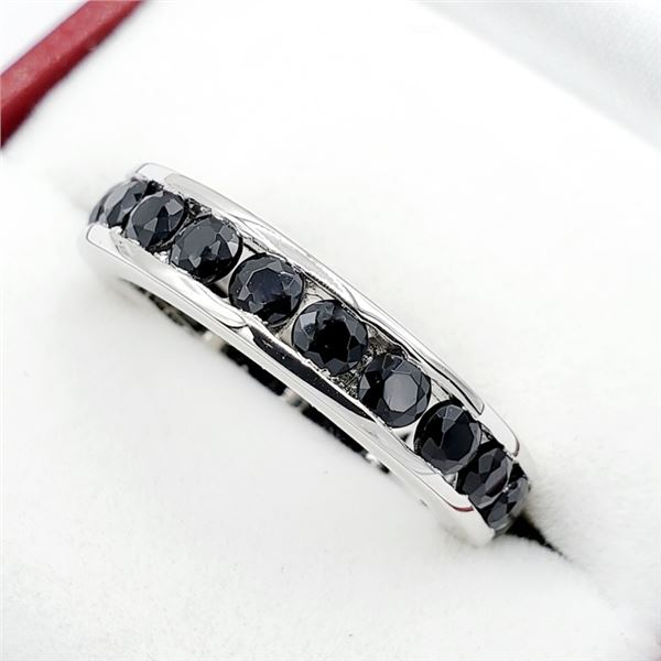 """NEW STERLING SILVER GENUINE BLACK SAPPHIRE  """"INFINITY BAND"""" STYLE RING SIZE 6.25 W/ APPRAISAL $860"""