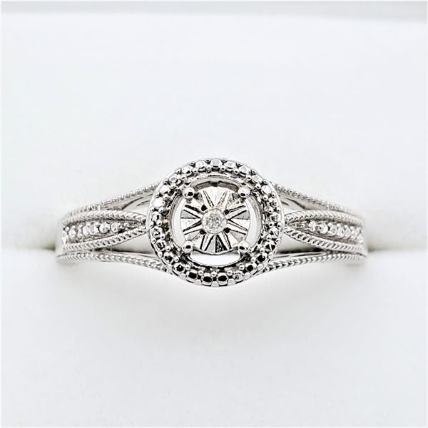NEW STERLING SILVER DIAMOND RING SIZE 6.75 W/ APPRAISAL $655
