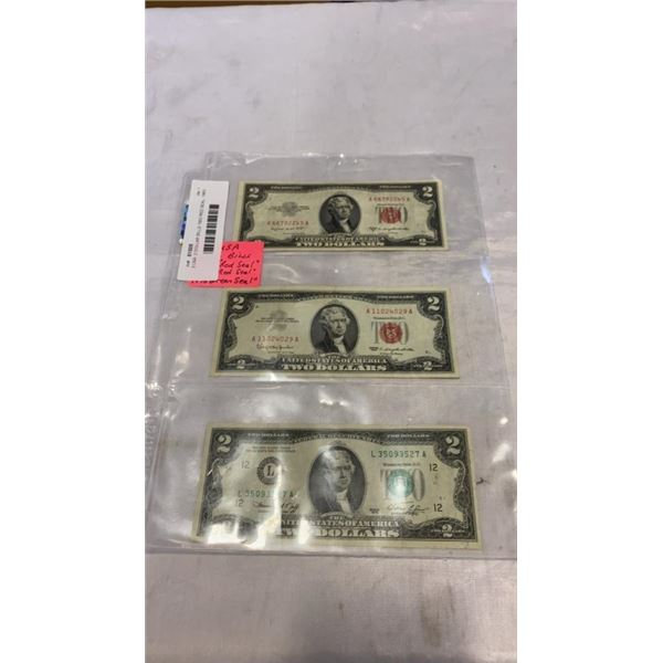 3 USA  2 DOLLAR BILLS 1953 RED SEAL, 1963 RED SEAL, 1976 GREEN SEAL