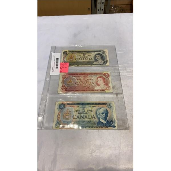 3 CANADIAN SCENCES OF CANADA NOTES 1973  1 DOLLAR, 1974  2 DOLLAR, 1972  5 DOLLAR