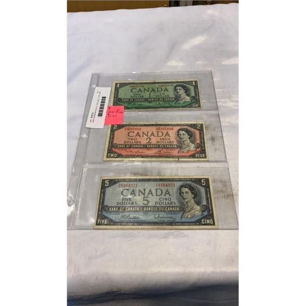 1954 CANADIAN BILLS 1 DOLLAR, 2 DOLLAR, 5 DOLLAR BILLS