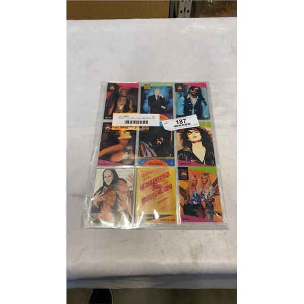 9 EARLY POP STAR CARDS - MADONNA, JIMI HENDRIX
