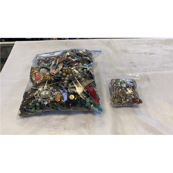 LARGE AND SMALL BAG OF JEWELLERY