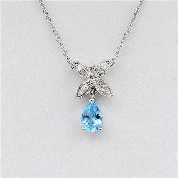 """NEW STERLING SILVER GENUINE BLUE TOPAZ AND DIAMOND PENDANT W/ 18"""" STERLING CHAIN W/ APPRAISAL $895"""