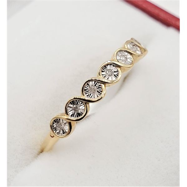 NEW 10KT YELLOW GOLD DIAMOND RING SIZE 6.75 W/ APPRAISAL $1000