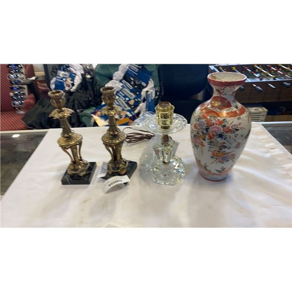 2 METAL CANDLESTICKS, GLASS LAMP AND EASTERN VASE HAND PAINTED - CRACKED TOP REPAIRED