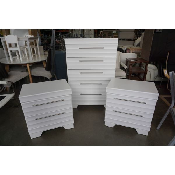 DYNAMIC FURNITURE WHITE CHEST OF DRAWERS AND PAIR OF 2 DRAWER NIGHTSTANDS MADE IN CANADA