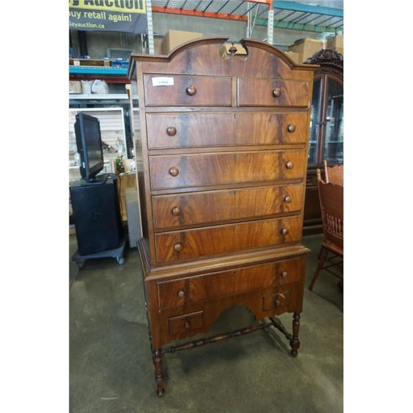 ANTIQUE 9 DRAWER WALNUT CHEST OF DRAWERS