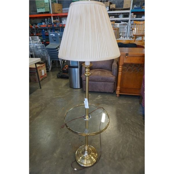 MCM BRASS FLOOR LAMP WITH PLEATED SHADE