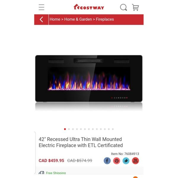 COSTWAY 42 INCH RECESSED ELECTRIC FIREPLACE ULTRA THIN WALL MOUNTED ETL CERTIFIED - RETAIL $459.95