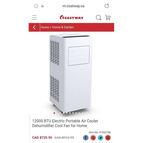 COSTWAY 12000 BTU ELECTRIC PORTABLE AIR COOLER DEHUMIDIFIER FAN - RETAIL $729.95