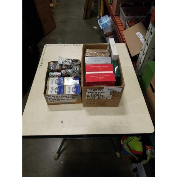 2 BOXES OF NEW POKER CARDS AND CHIPS WITH GRETTING CARDS