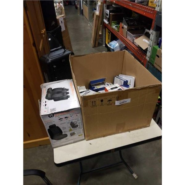 BOX OF COMPUTER ADAPTERS, CABLES, CAR SEAT COVER AND HEATER