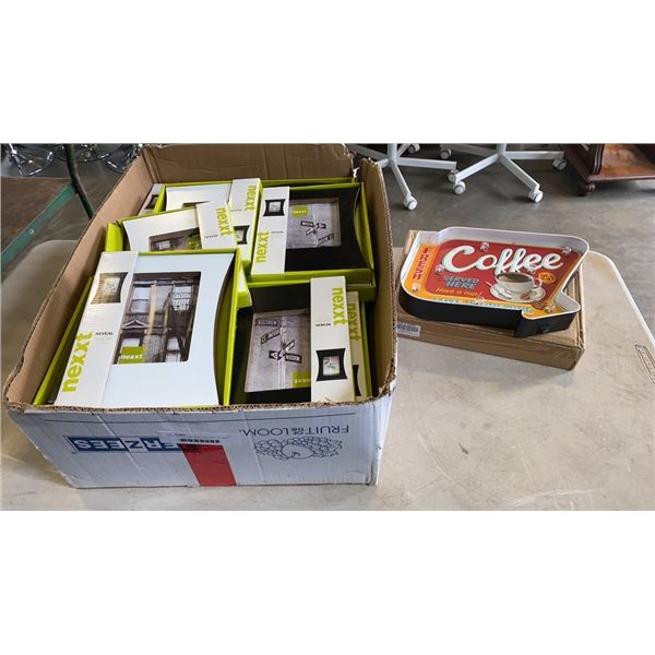 LIGHT UP COFFEE SIGN AND BOX OF NEW PICTURE FRAMES
