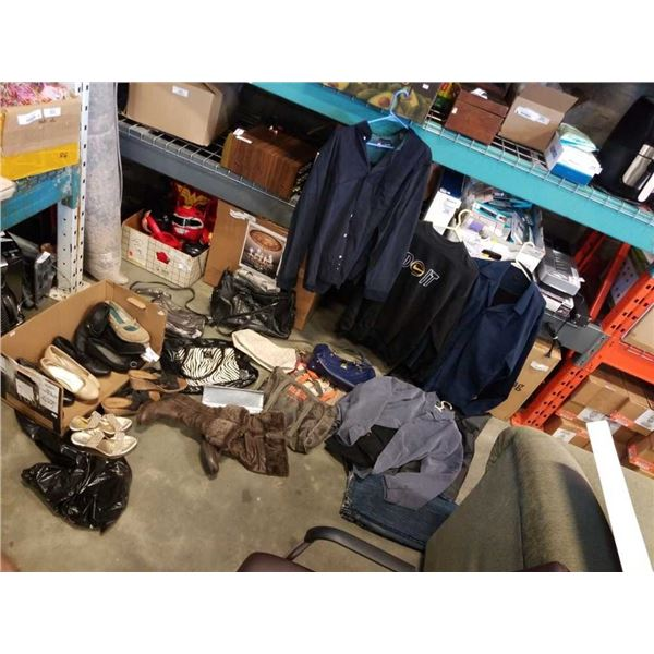 LOT OF LADIES SHOES AND PURSES, AND MENS CLOTHING -  VARIOUS BRANDS COACH. NIKE, GUESS, ETC