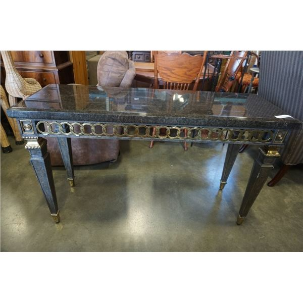 METAL BASE SOFA TABLE WITH STONE LOOK TOP