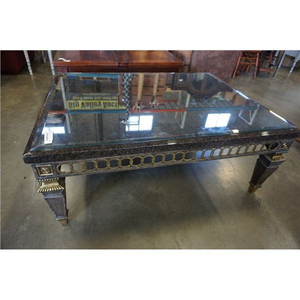 METAL BASE COFFEE TABLE WITH STONE LOOK TOP