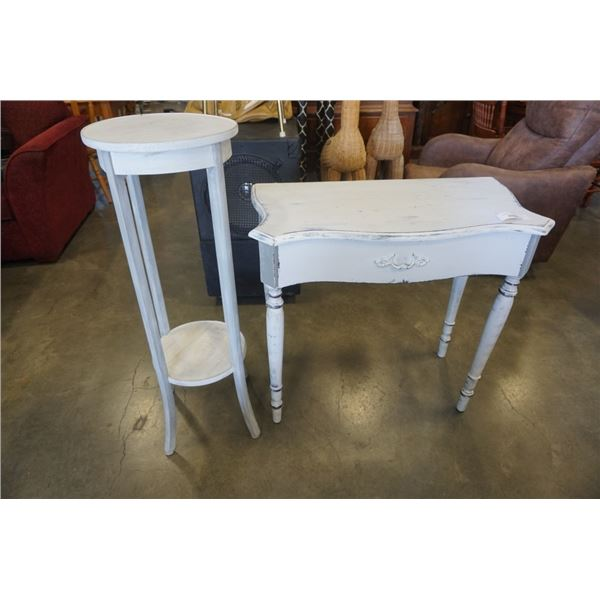 PAINTED WHITE HALL TABLE AND PLANTER STAND