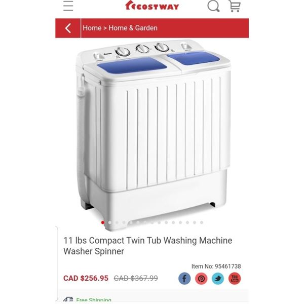 COSTWAY 11LB COMPACT TWIN TUB WASHING MACHINE - RETAIL $256.95