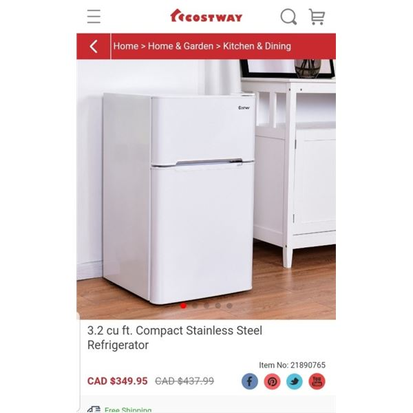 COSTWAY 3.2 CU FT COMPACT REFRIGERATOR WHITE - RETAIL $245.95