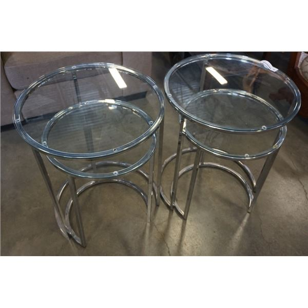 4 MODERN GLASS AND CHROME NESTING ENDTABLES - 2 PAIRS