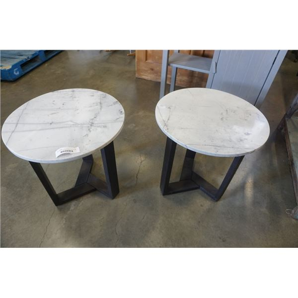 PAIR OF MOES ROUND MARBLE ENDTABLES - MANUFACTURED JANUARY 2021